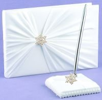 Elegant snowflake guestbook and pen