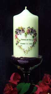 Wedding candles make wonderful keepsakes.  Nily will personalize your wedding candle just for you.  Put your invitation or memorable picture on it.  Nily also makes personalized unity candles.